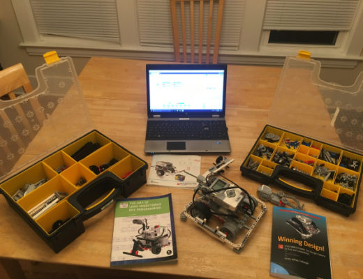 computer, ev3 robot, and related books and hardware