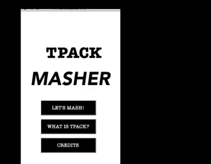 T-PACK masher application opening screen, this image links to a blog post