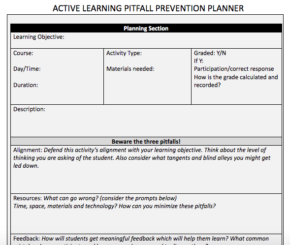 Active learning planner link